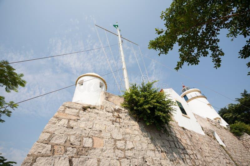 松山灯塔、堡垒和教堂在澳门 库存照片