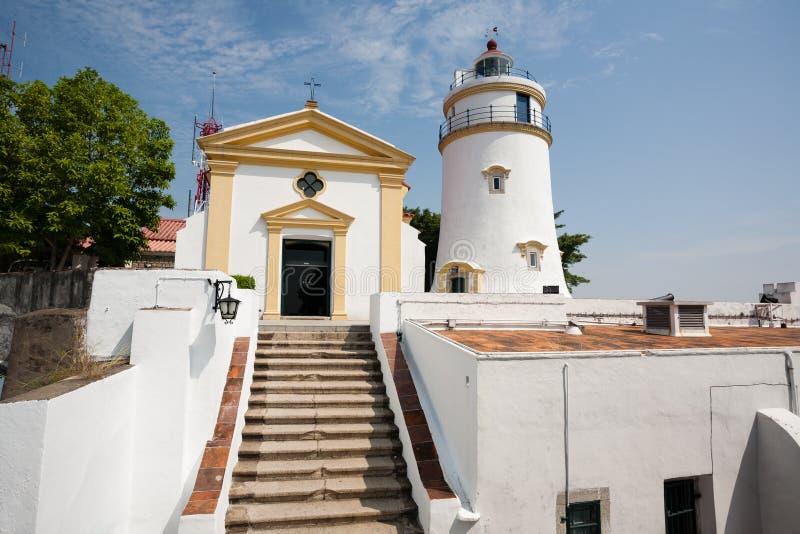 松山灯塔、堡垒和教堂在澳门 免版税库存照片