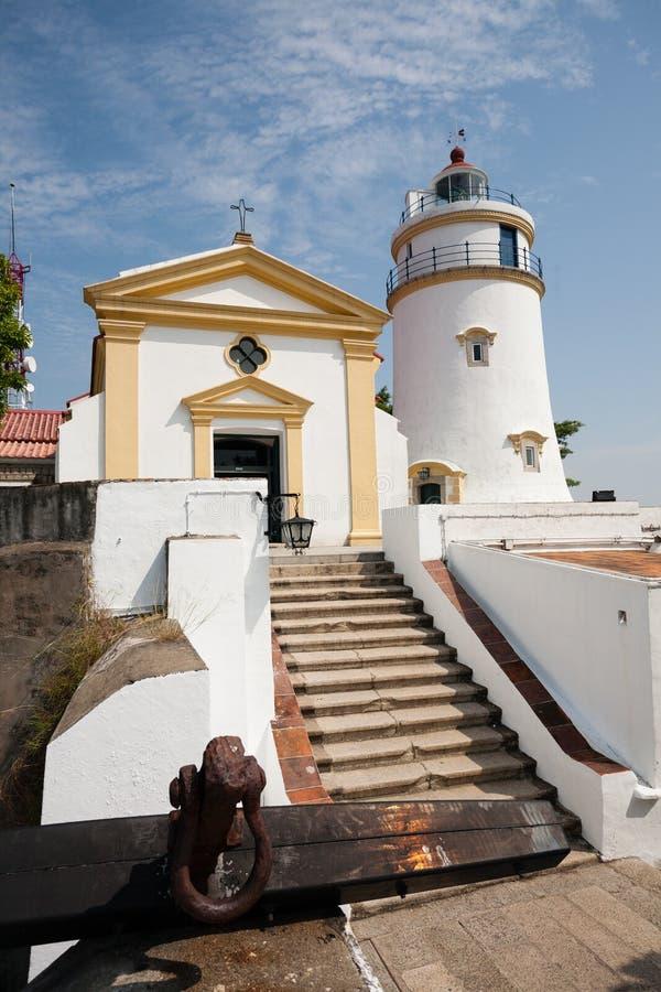松山灯塔、堡垒和教堂在澳门 免版税库存图片