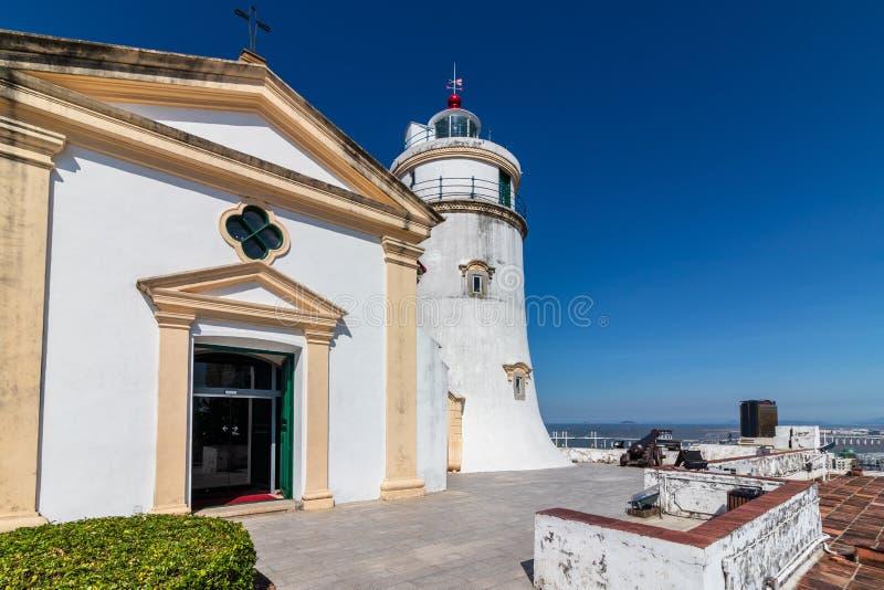 松山灯塔堡垒、我们的夫人大炮和教堂,Farol e福特莱萨da东望洋 São拉扎,澳门,中国 库存照片