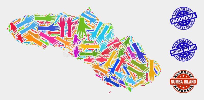 松巴岛地图和被抓的手工制造封印手拼贴画  向量例证