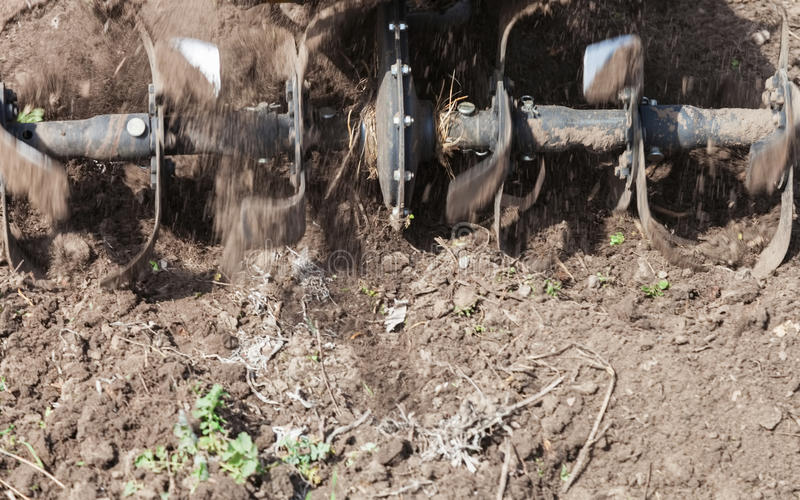 松开土壤耕地机特写镜头 库存照片