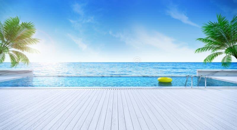 松弛夏天、晒日光浴的甲板和私有游泳池与近的海滩和全景海视图在豪华房子/3d翻译 皇族释放例证