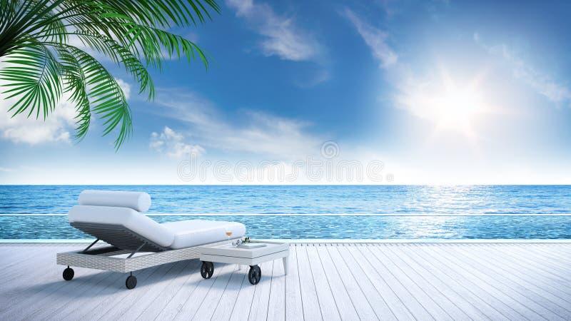 松弛夏天、沙发床在晒日光浴的甲板和私有游泳池与近的海滩和全景海视图在豪华房子/3d ren 库存例证