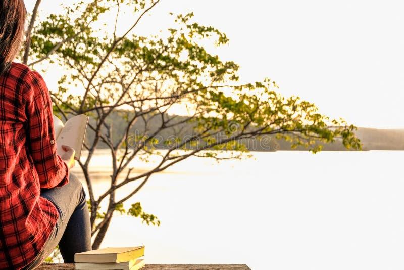 松弛片刻,少妇在自然背景中的读一本书 独奏放松,行家口气的颜色 免版税库存图片