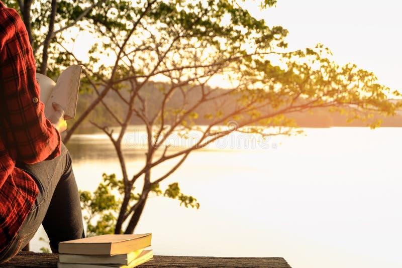 松弛片刻,少妇在自然背景中的读一本书 独奏放松,行家口气的颜色 库存照片