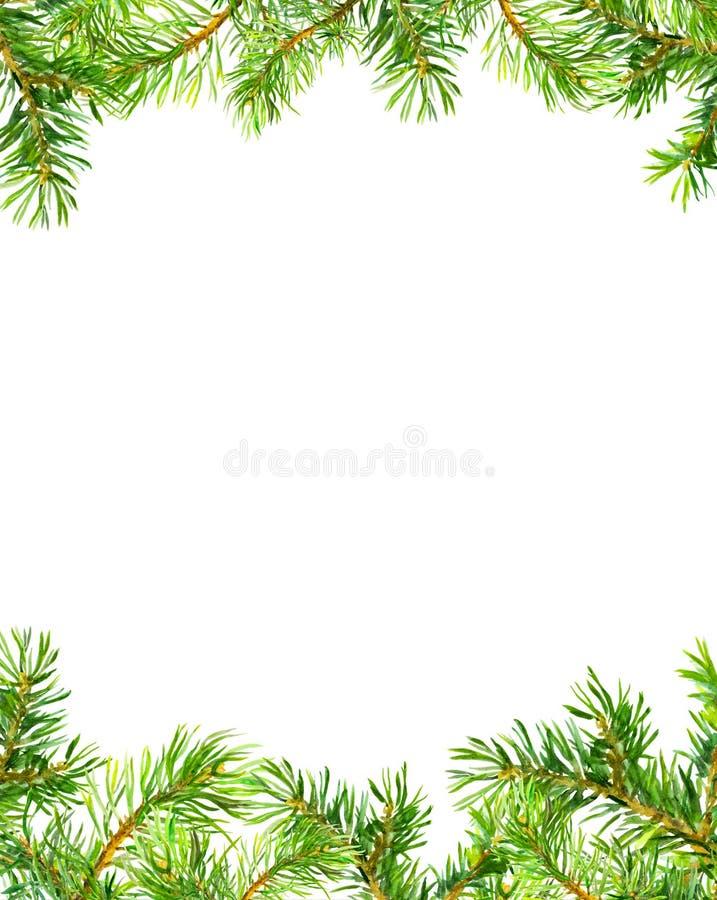 松树分支框架 袋子看板卡圣诞节霜klaus ・圣诞老人天空 水彩 库存例证