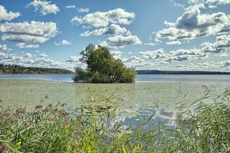 松的云彩,在一个镇上的蓝天Malaren湖的,瑞典 库存照片