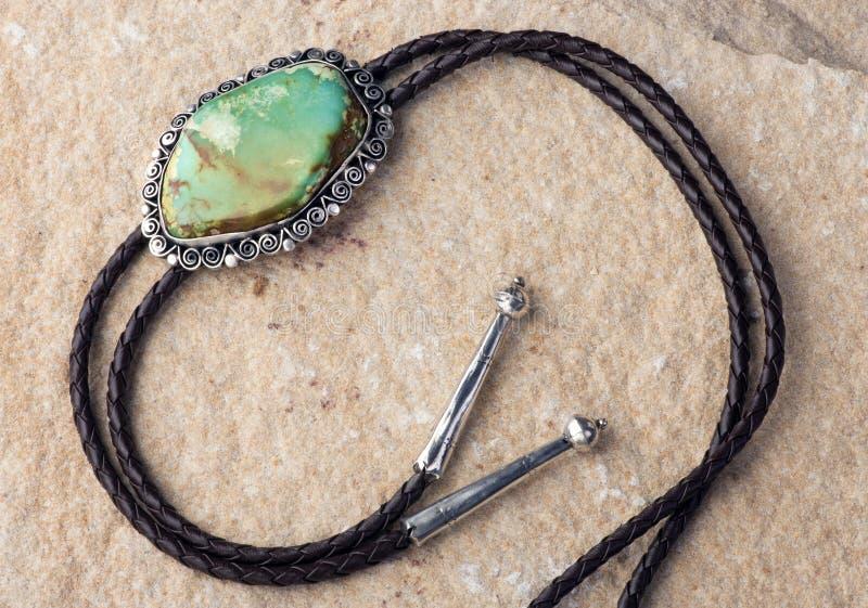 绿松石饰扣式领带 库存照片