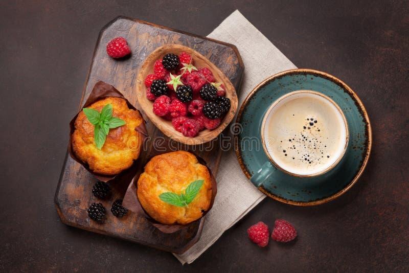 松饼和咖啡 库存照片