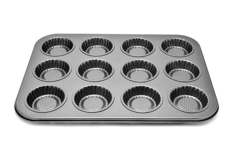 松饼或杯形蛋糕的烘烤盘子 库存照片