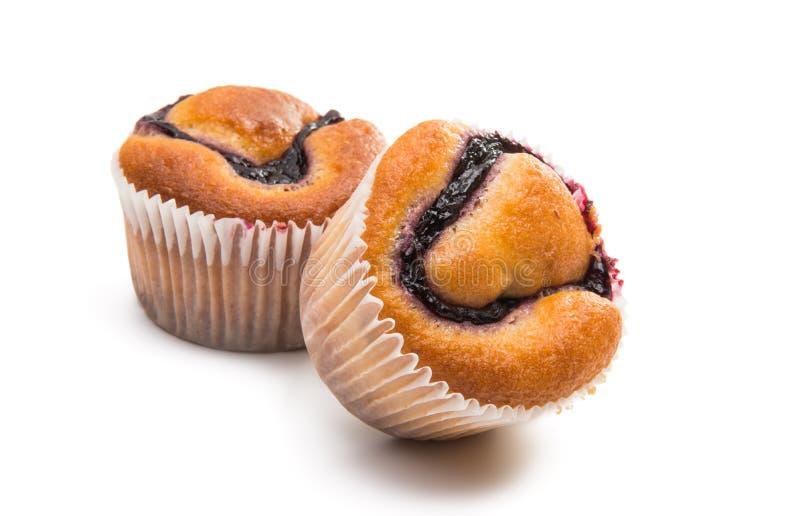 松饼用被隔绝的果酱 免版税库存图片