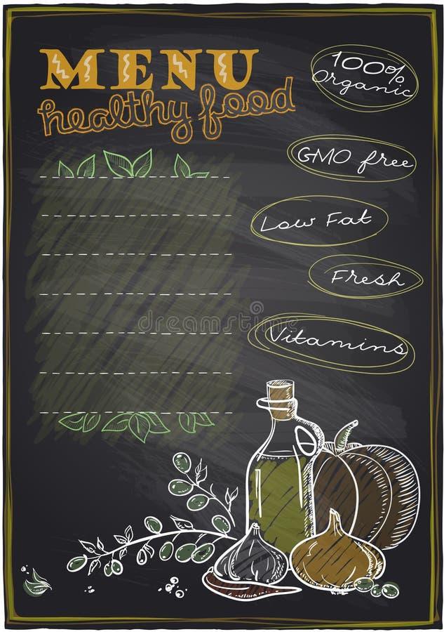 黑板健康食物菜单。 向量例证