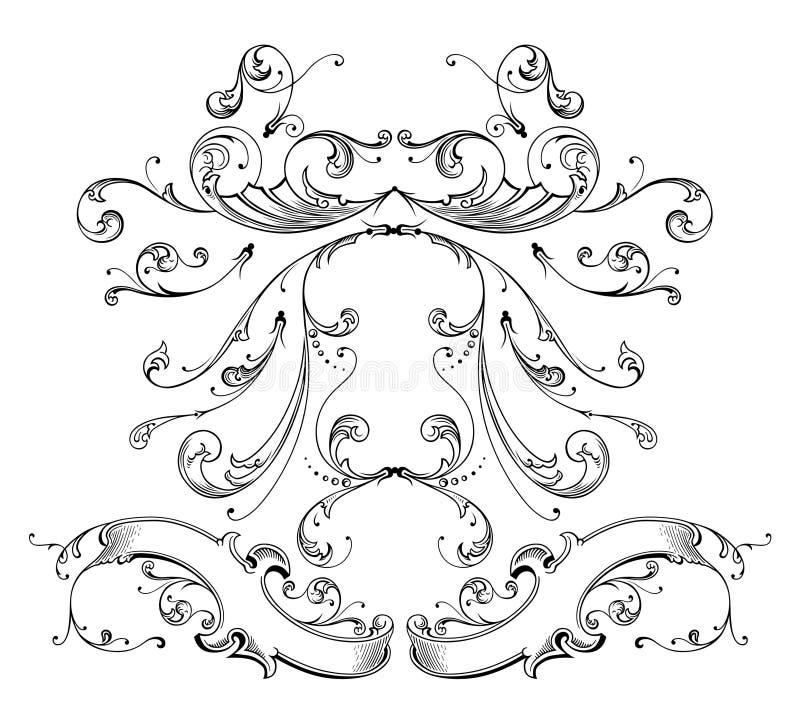 板刻装饰品向量 皇族释放例证