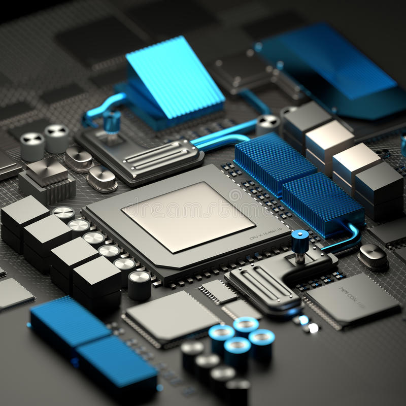 主板和CPU技术背景 向量例证