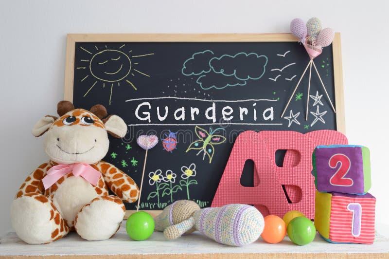 黑板在幼儿园教室 库存图片