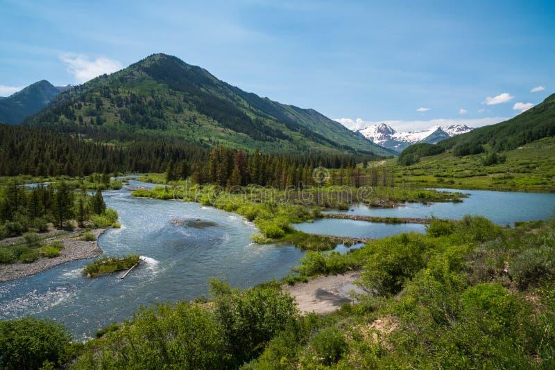 板岩河,有顶饰小山,科罗拉多 库存图片