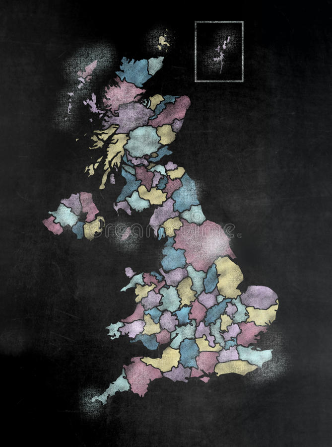 黑板或黑板有U的 K 与县的地图 免版税库存图片