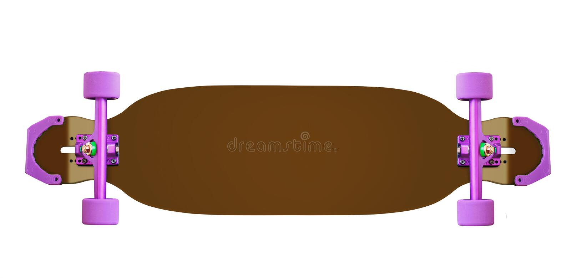 滑板或longboard 免版税库存照片