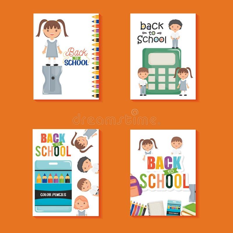 板料的笔记本和供应逗人喜爱的矮小的学生 库存例证