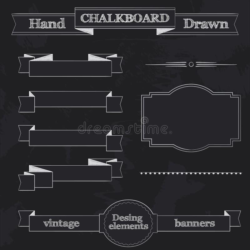 黑板样式横幅、丝带和框架 皇族释放例证