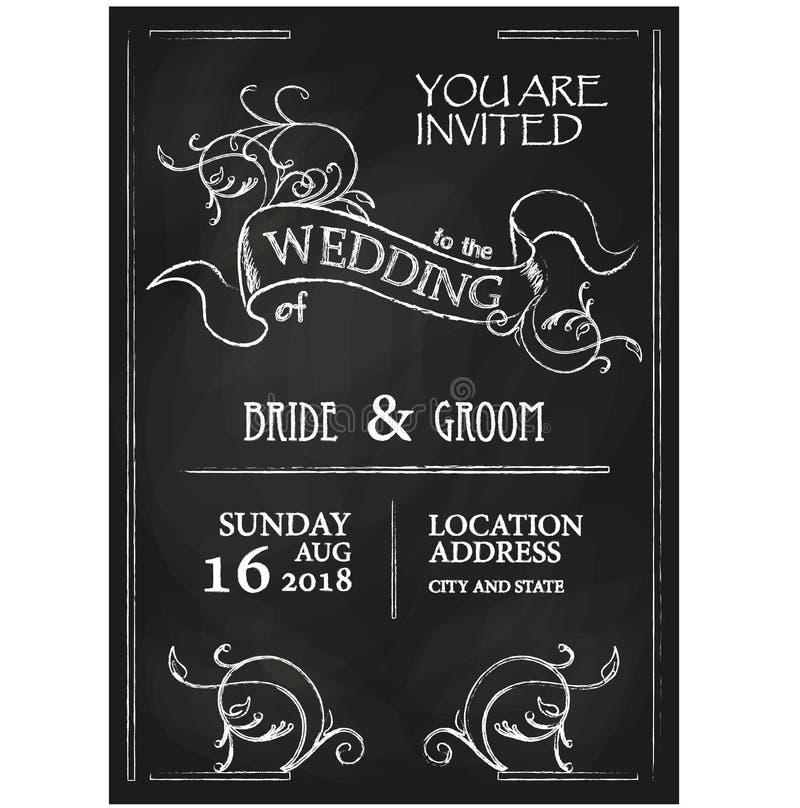 黑板样式葡萄酒婚礼邀请卡片 向量例证