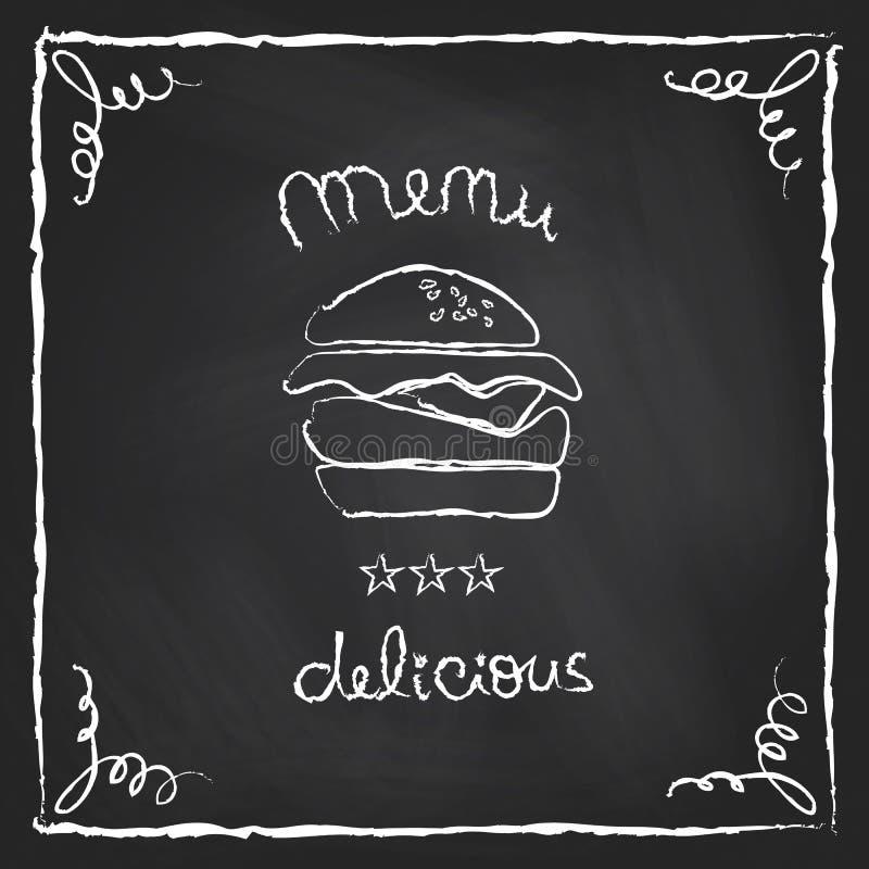 黑板汉堡菜单 库存例证