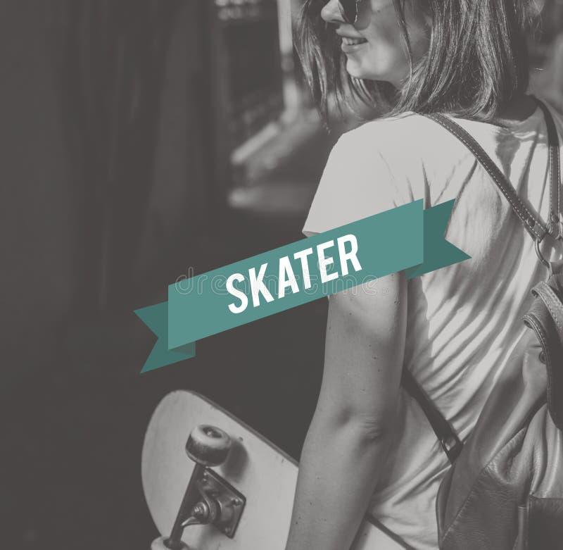 滑板溜冰者少年街道样式概念 免版税库存图片