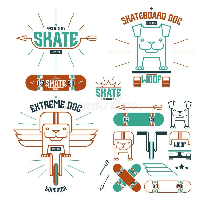 滑板狗象征和象 皇族释放例证