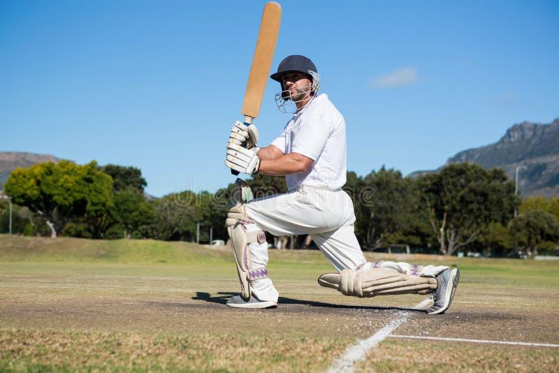 板球运动员侧视图领域的 图库摄影