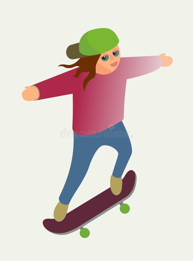 滑板的女孩 库存图片