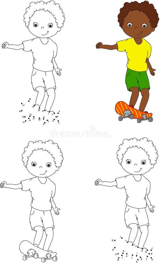滑板的男孩 也corel凹道例证向量 要做的着色和小点 库存例证