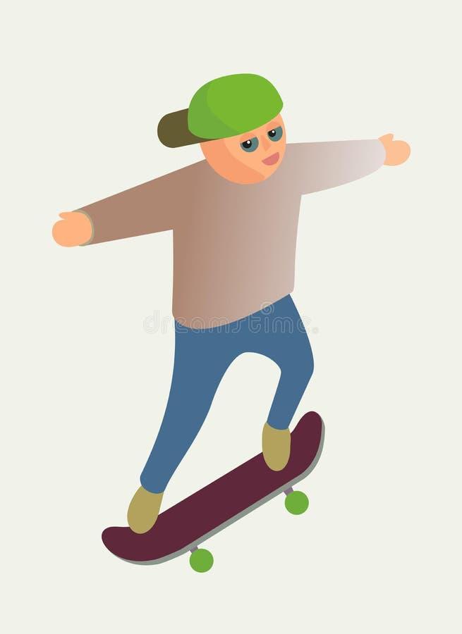 滑板的男孩 库存照片
