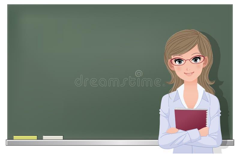 黑板的Eyewear玻璃女老师 向量例证