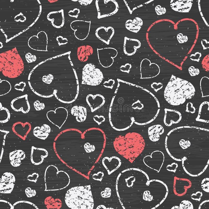 黑板艺术心脏无缝的样式背景 向量例证