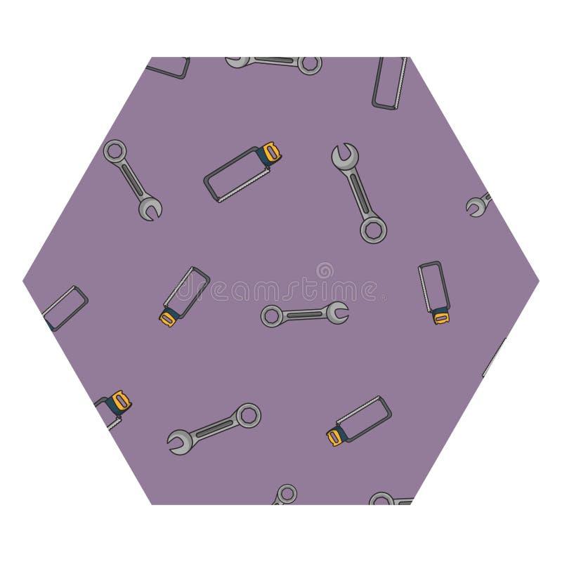 板钳和引形钢锯六角形框架 库存例证