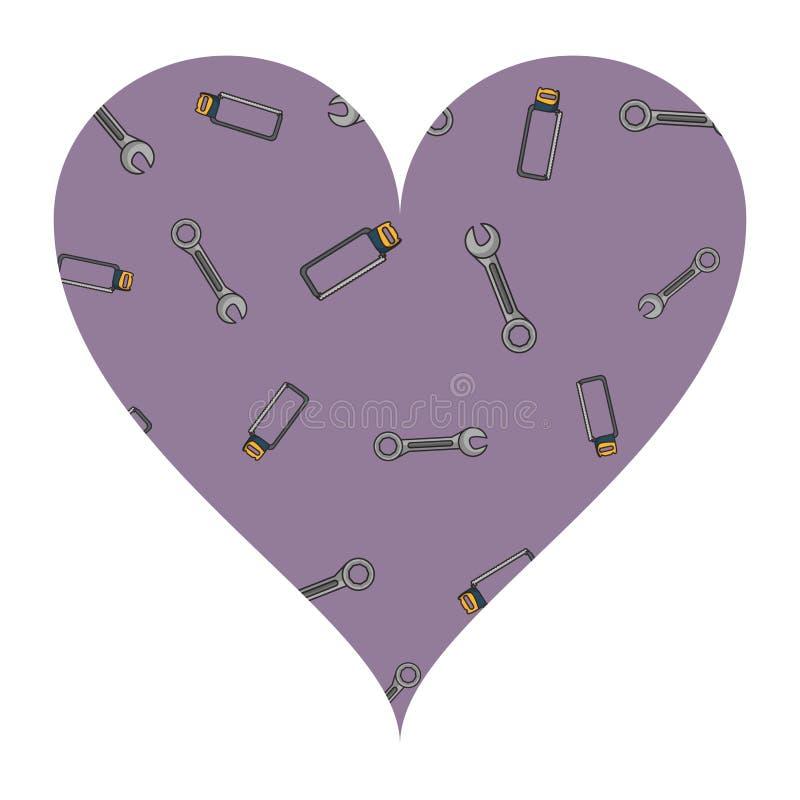 板钳和引形钢锯心脏框架 向量例证