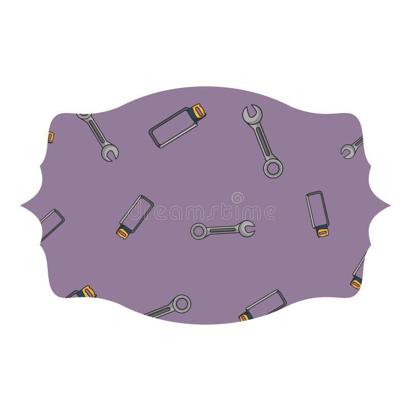 板钳和引形钢锯标签框架 向量例证