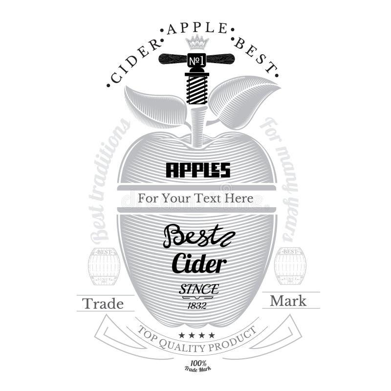 板刻与螺旋式前进前面的样式苹果 在白色的萍果汁标签 库存例证