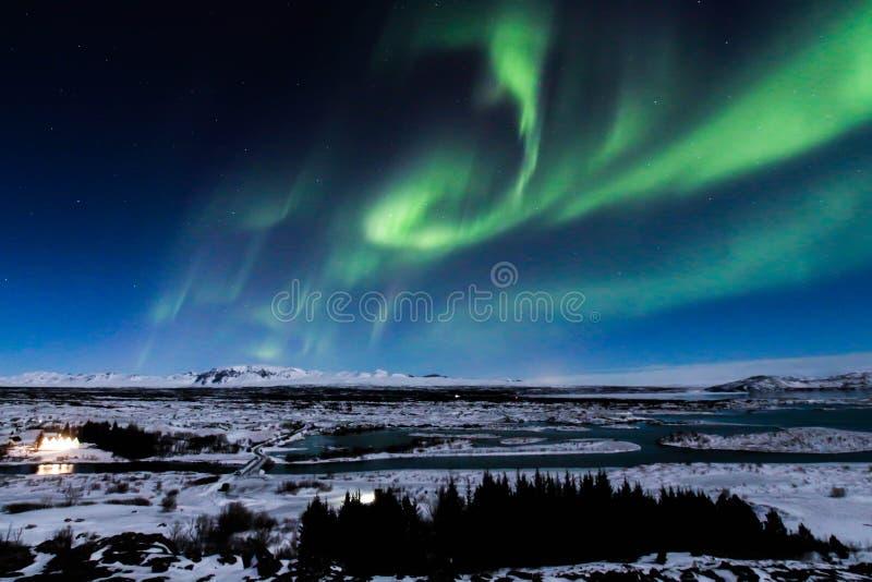 极光在Thingvellir,冰岛 免版税库存照片