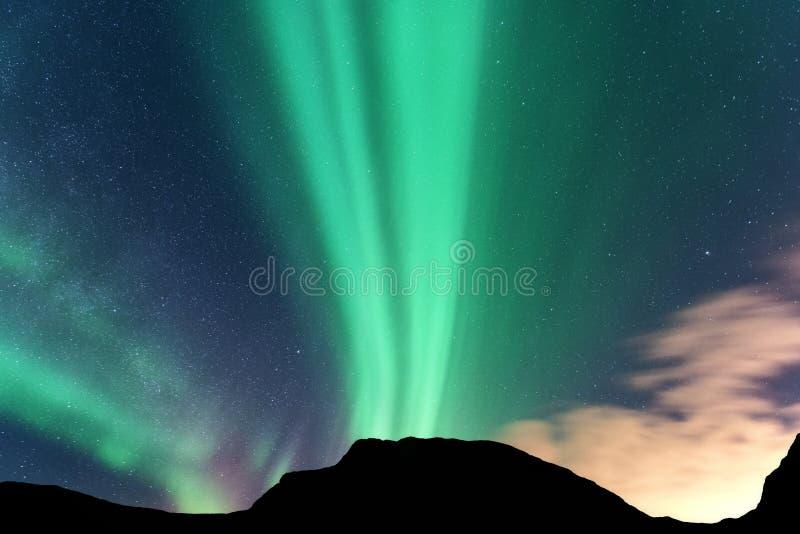 极光山borealis和剪影  Lofoten海岛,挪威 极光 北的绿灯 免版税库存图片