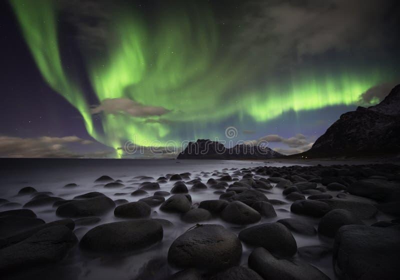 极光海滩 免版税库存图片