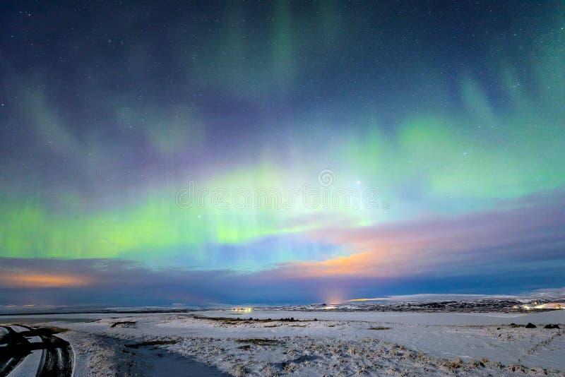 极光Borealis北极光冰岛 库存照片