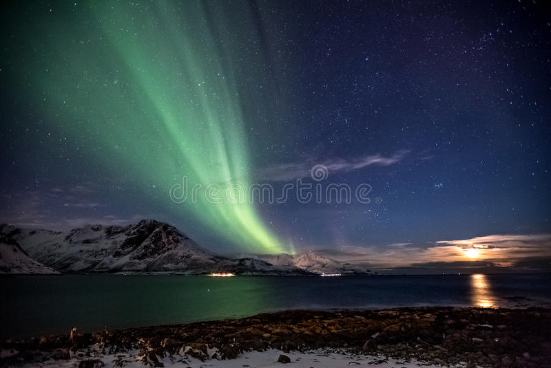 极光Borealis在特罗姆瑟,在挪威海湾前面的挪威在冬天 图库摄影