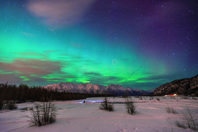 极光Borealis在阿拉斯加 库存照片