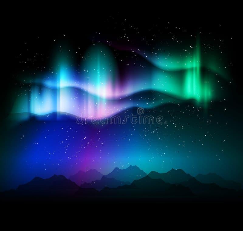 极光borealis抽象背景-传染媒介例证 库存例证