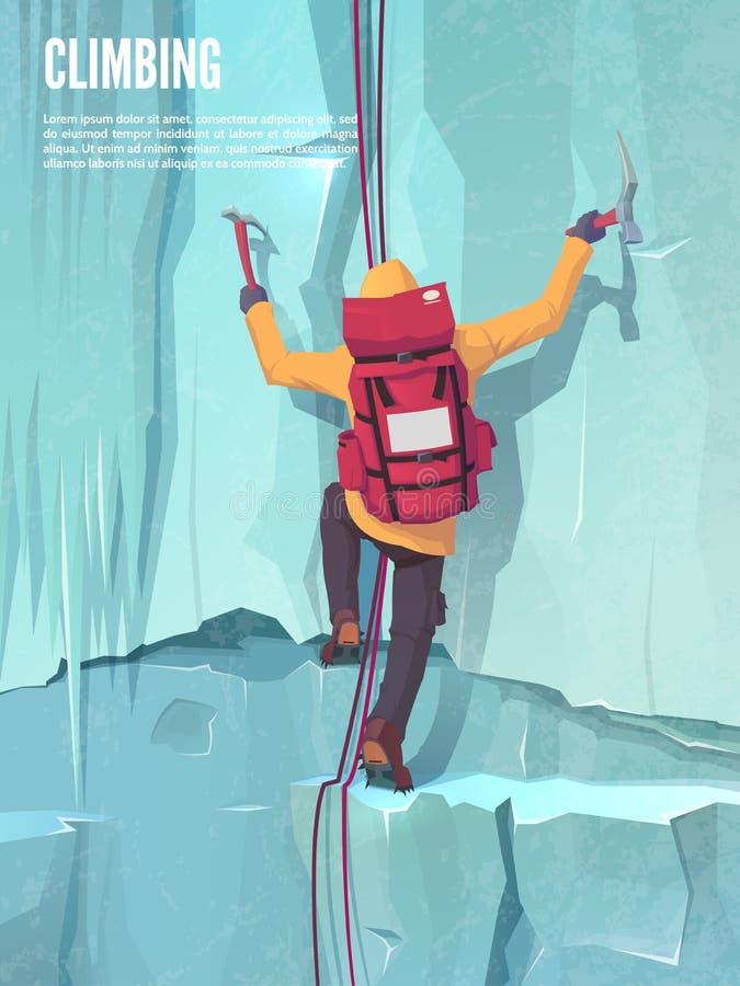 极其体育运动 攀登山 冰上升 有上升的齿轮的人 向量例证
