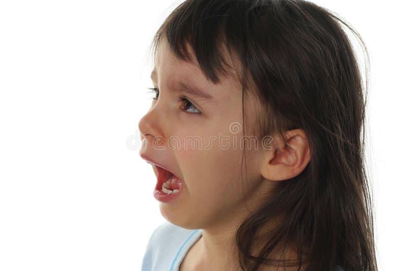 极其哭泣少许哀伤的女孩 免版税库存照片