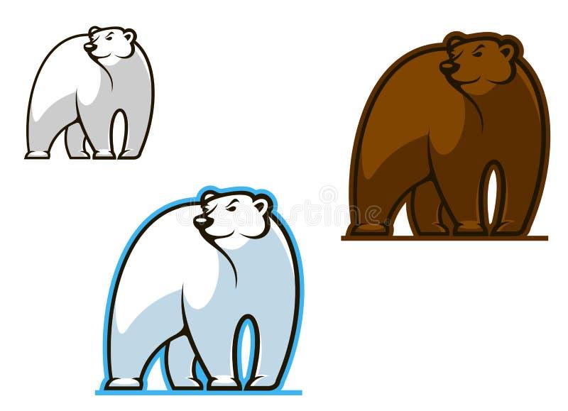 极性和棕熊 免版税库存图片