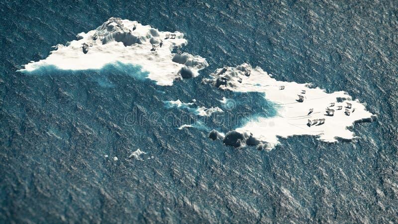极性在海洋涉及熔化的冰岩石 空中航空背景构成狗小的嗅涡轮白色风 免版税库存图片